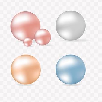 Conjunto de perlas aislado sobre fondo transparente ilustración esférica hermosa vector