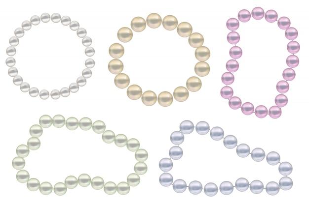 Conjunto de perlas realistas. la colección limita con la decoración de joyas.