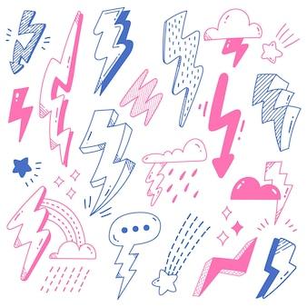 Conjunto de perno de trueno en la ilustración de vector de estilo doodle