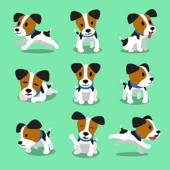 Conjunto de perro de dibujos animados jack russell terrier