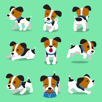 Conjunto de perro de dibujos animados personaje jack russell terrier