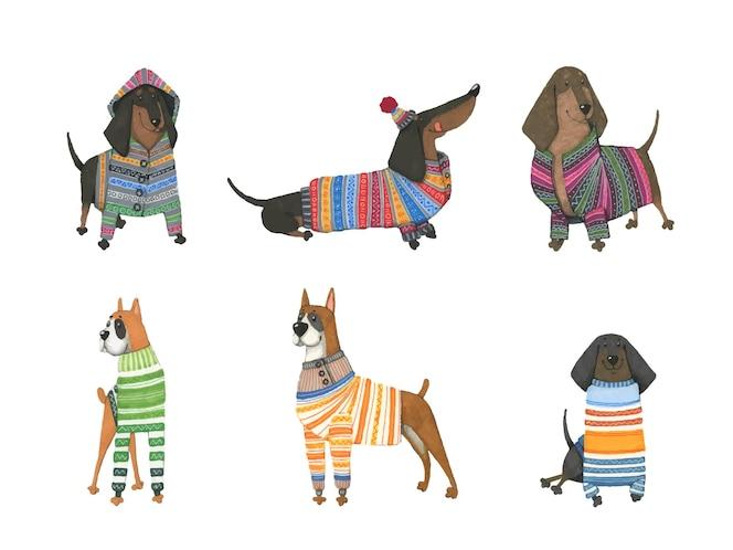 Conjunto de perros acuarelas en suéteres calientes.