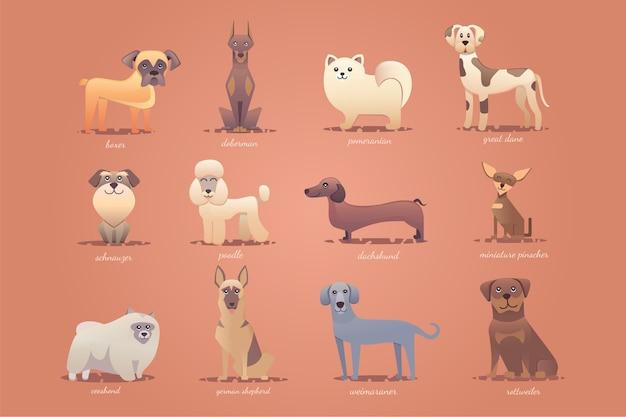 Conjunto de perros alemanes, formato de ilustración de dibujos animados lindo