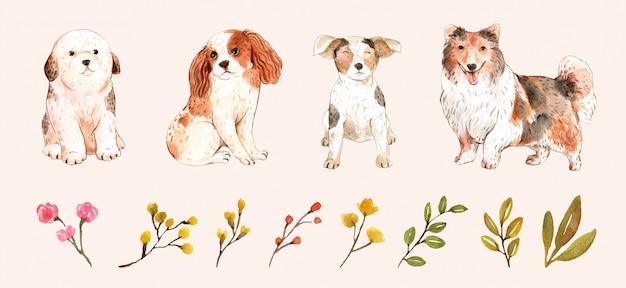 Conjunto de perros graciosos y hojas