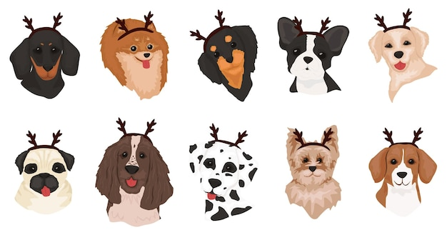 Conjunto de perros lindos con cuernos de ciervo