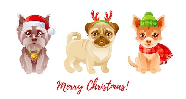 Conjunto de perros lindos feliz navidad. iconos de cachorro de dibujos animados. moda divertida pug, chihuahua, yorkshire terrier