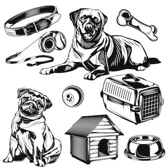 Conjunto de perros y sus elementos de juguetes.