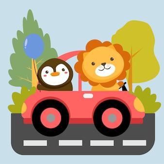 Conjunto de personaje animal con león en pingüino en coche