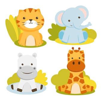 Conjunto de personaje animal con tigres, elefantes, jirafas e hipopótamos.