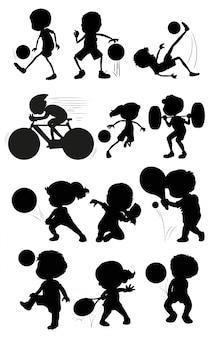 Conjunto de personaje atleta silueta
