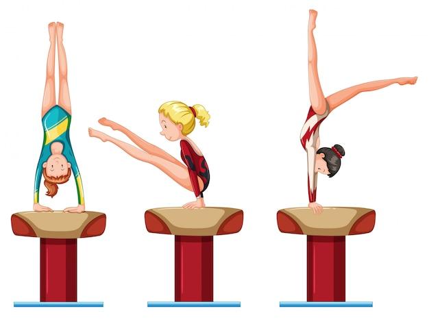Conjunto de personaje de atletas de gimnasia femenina.