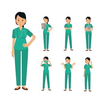 Conjunto de personaje de cirujano médico femenino. ilustración médica