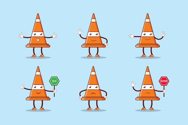 Conjunto de personaje de cono de tráfico de dibujos animados