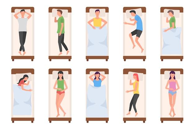 Conjunto de personaje de dibujos animados acostado en diferentes poses durante el sueño nocturno.