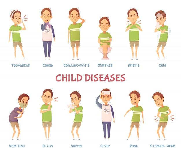 Conjunto de personaje de dibujos animados aislados niño que sufre de diferentes síntomas