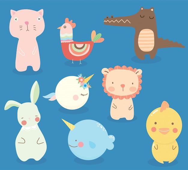 Conjunto de personaje de dibujos animados de animales lindos, divertidos dibujos animados para niños.
