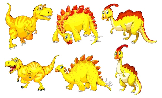 Conjunto de personaje de dibujos animados de dinosaurio amarillo