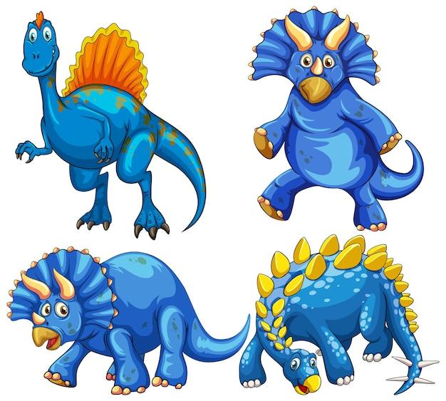 Conjunto de personaje de dibujos animados de dinosaurio azul
