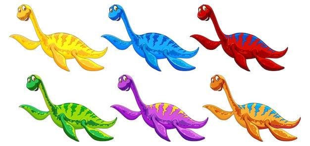 Conjunto de personaje de dibujos animados de dinosaurio pliosaurio