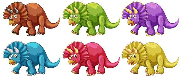 Conjunto de personaje de dibujos animados de dinosaurio triceratops