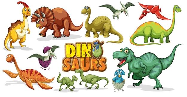 Conjunto de personaje de dibujos animados de dinosaurios aislado sobre fondo blanco.