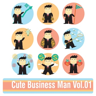 Conjunto de personaje de dibujos animados de empresario en hacer acciones de dinero.
