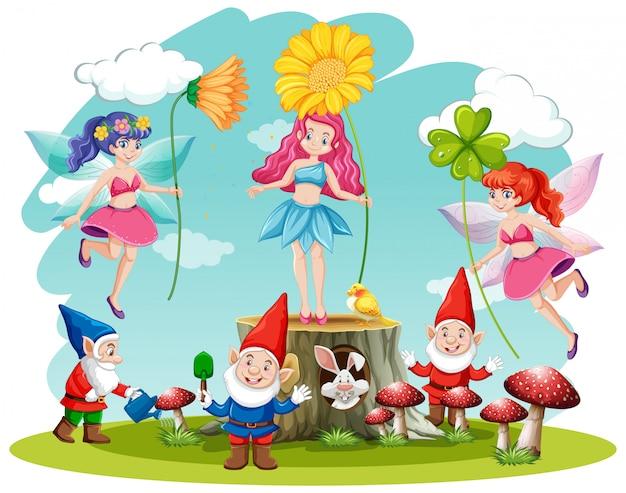Conjunto de personaje de dibujos animados de fantasía de cuento de hadas y gnomo sobre fondo blanco