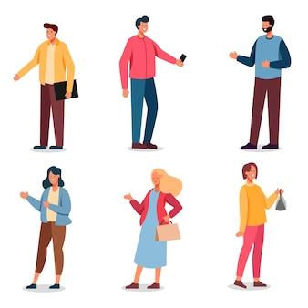 Conjunto de personaje de dibujos animados de hombre y mujer con casual y dispositivo para trabajar en la vida diaria, ilustración aislada