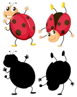 Conjunto de personaje de dibujos animados de insectos y su silueta
