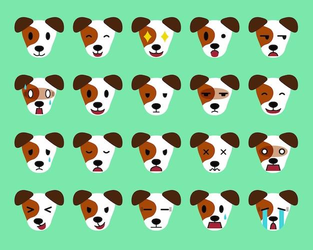 Conjunto de personaje de dibujos animados jack russell terrier perro caras mostrando diferentes emociones