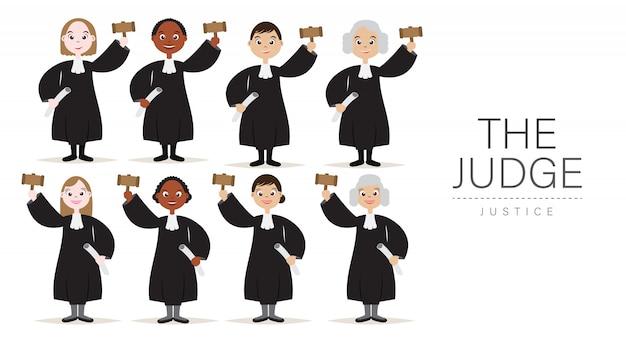 Conjunto de personaje de dibujos animados de los jueces con el martillo