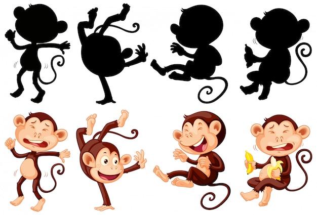 Conjunto de personaje de dibujos animados mono y silueta