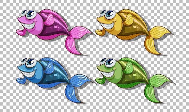 Conjunto de personaje de dibujos animados de muchos peces aislado sobre fondo transparente