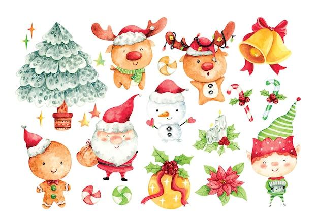 Conjunto de personaje de dibujos animados de navidad en color de agua