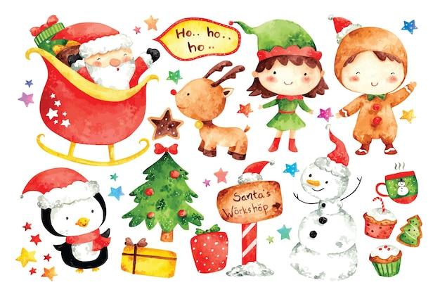 Conjunto de personaje de dibujos animados de navidad en la ilustración de color de agua
