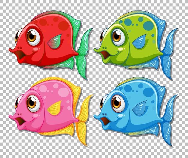 Conjunto de personaje de dibujos animados de peces exóticos de diferentes colores sobre fondo transparente