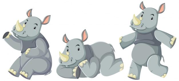 Conjunto de personaje de dibujos animados de rinocerontes