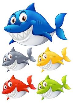 Conjunto de personaje de dibujos animados sonriente de tiburón de diferentes colores sobre fondo blanco
