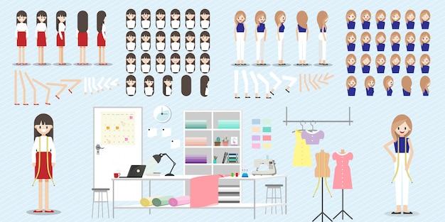 Conjunto de personaje de dibujos animados con trabajo de diseñador de moda.