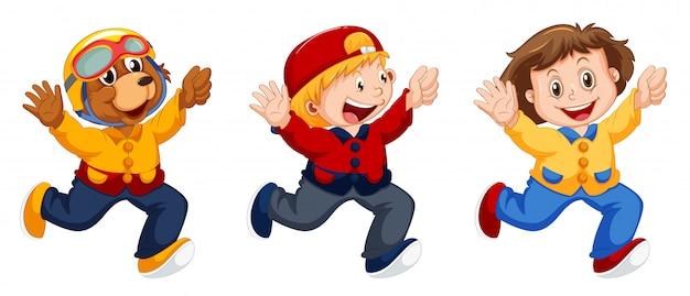 Conjunto de personaje de dibujos animados