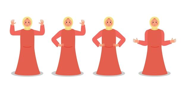 Conjunto de personaje femenino musulmán usa hijab