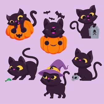 Conjunto de personaje de halloween de dibujos animados lindo gato negro