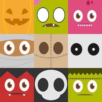 Conjunto de personaje de halloween y signo