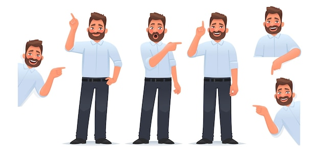 Conjunto de un personaje de hombre apuntando con el dedo en diferentes direcciones hacia arriba y hacia abajo mirando emoción alegre