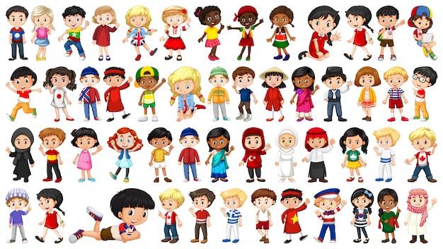Conjunto de personaje infantil multicultural.