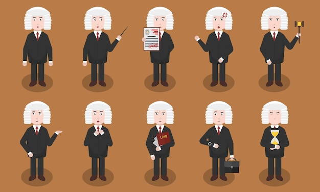 Conjunto de personaje de juez de dibujos animados en diversas situaciones y emociones. concepto de autoridad jurídica, tribunal y justicia.