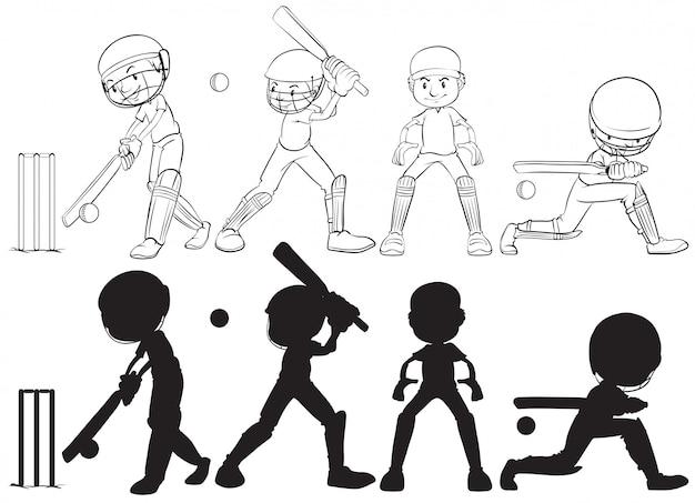Conjunto de personaje de jugador de cricket.