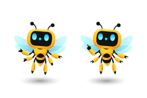 Conjunto de personaje lindo robot abeja ai en pose actual y señalando