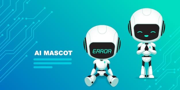 Conjunto de personaje lindo robot ai con fondo de circuitos