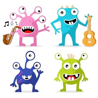 Conjunto de personaje de monstruos lindos. dia especial de jazz